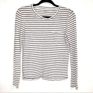 MADEWELL| White Gray Striped Long Sleeve T-Shirt S